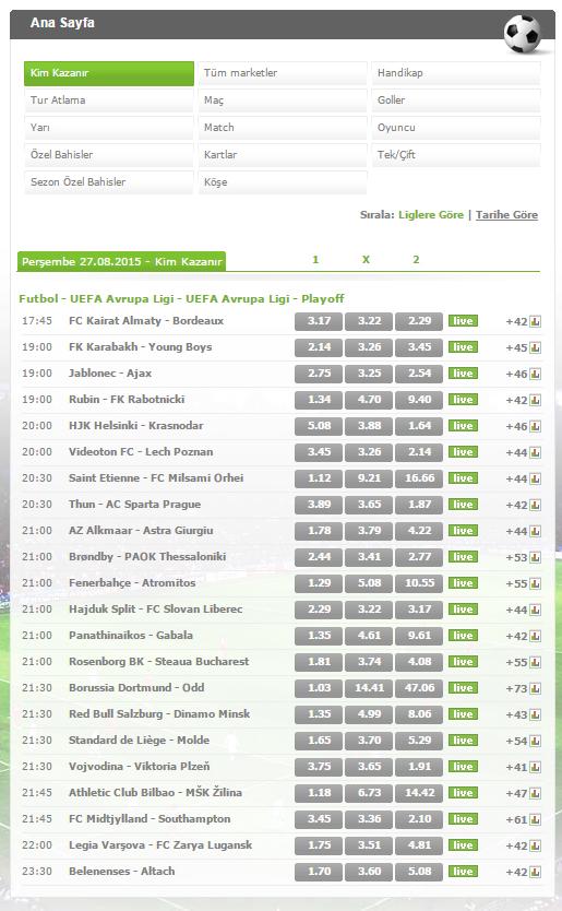 Muhteşem Uefa Avrpa ligi maçlarına En Yüksek Oranlar Bets10 da